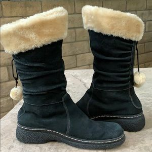 Bass Sydney Black Suede Faux Fur Lined Pompom Boot